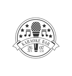 Microphone And Music Symols In Round Frame Karaoke vector image