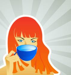 a girl with a mug vector image