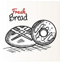 hand drawn bakery goods design vector image