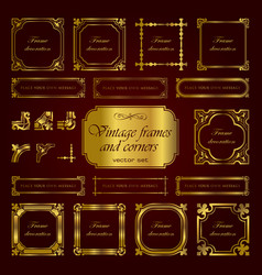 Golden vintage calligraphic frames and corners vector