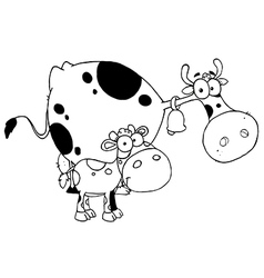Cartoon cow with calf vector