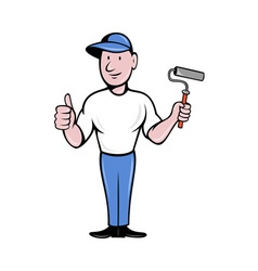 House painter with painting roller thumbs up vector