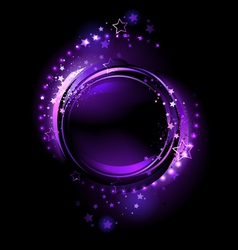 Purple round banner vector