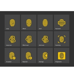 Fingerprint and thumbprint icons vector