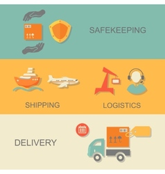 Set of logistics safekeeping delivery shipping vector