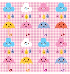 Umbrellas raindrops clouds cute characters pattern vector