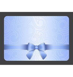 Light blue gift card with ribbon and swirl vector
