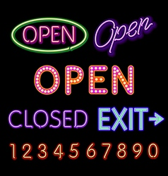 Open neon sign closed exit figures vector