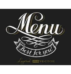 Menu chalk lettering vector