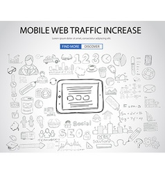 Mobile web traffic concept with doodle design vector