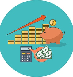 Profitable investment concept flat design icon in vector