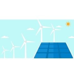 Background of solar panels and wind turbines vector