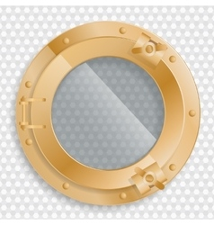 Antique brass porthole on a transparent background vector