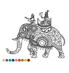 Antistress coloring page with maharaja on elephant vector image