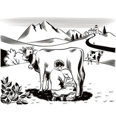Breeder intent to milk a cow vector