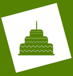 Cake with candle sign white icon obtained vector
