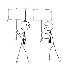 Conceptual cartoon of two arguing businessmen vector
