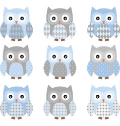 Cute blue and grey cute owl set vector