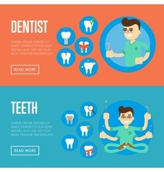 Dental office banners with male dentist vector