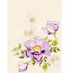 Floral background with peony vector