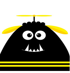 Funny monster head silhouette with fang tooth and vector