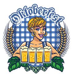girl of oktoberfest design vector image