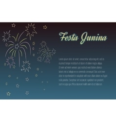 Hand drawing festa junina fireworks on night time vector