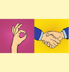 hands showing deaf-mute different gestures human vector image vector image