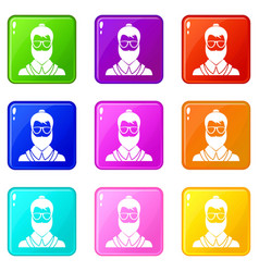 hipsster man set 9 vector image