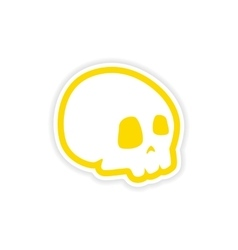 Icon sticker realistic design on paper skull vector