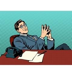 Ironic businessman boss vector