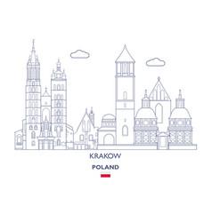 Krakow linear city skyline vector