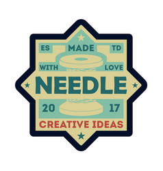 needle atelier vintage isolated label vector image vector image