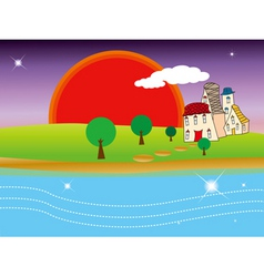 quiet village under sunset vector image