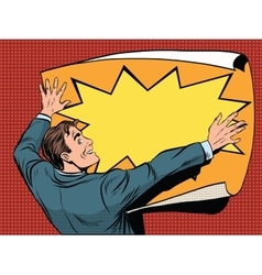 Retro man unfolds a poster vector image vector image