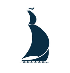 sailing ship on waves logo for a travel agency vector image vector image