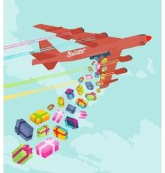 Santas bomber dropping the gifts vector