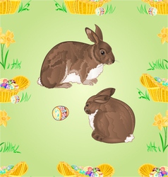Seamless texture easter rabbits and easter eggs vector