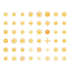 Set of glossy sun images for your design vector image