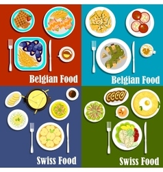 Swiss and belgian cuisine food vector