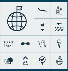 Tourism icons set collection of summer glasses vector