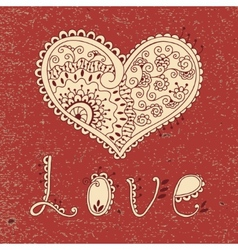 Vintage card with hearts vector image vector image