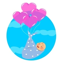 Newborn fly with balloon vector