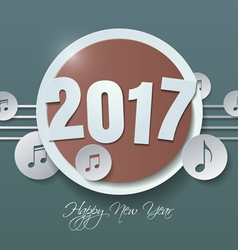 Happy new year 2017 and music notes cut from paper vector