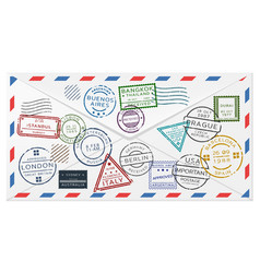 Retro postal envelope template vector