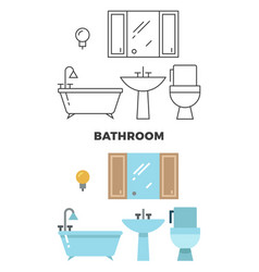 Bathroom concept - flat style and line style vector