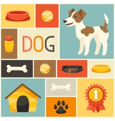 Background with cute dog icons and objects vector