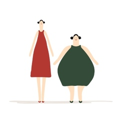Thick and slim ladies for your design vector