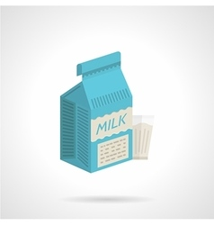 Milk blue pack flat color icon vector