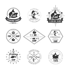 Vintage pike fishing emblems labels and design vector